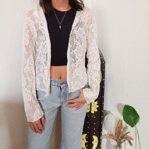White lace zip up hoodie